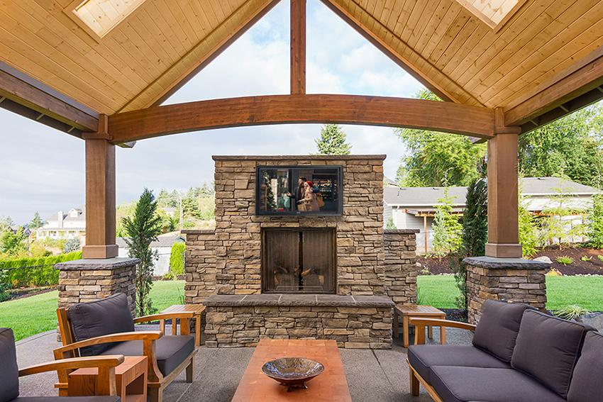Best Outdoor Tv Spaces To Inspire You, Outdoor Fireplace Kit With Tv Mount